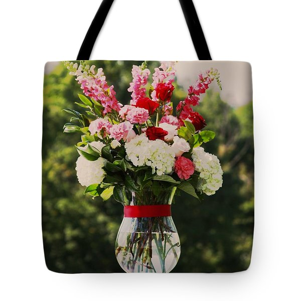 Pink And White Bouquet In Sepia Tote Bag