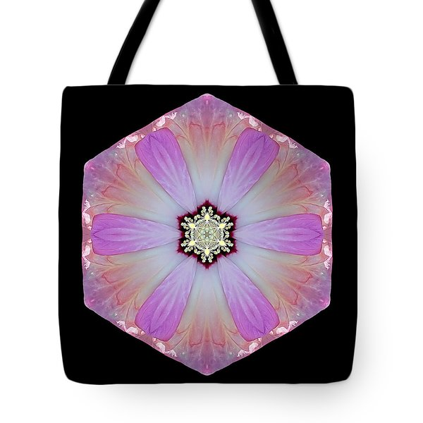 Pink And White Hibiscus Moscheutos I Flower Mandala Tote Bag
