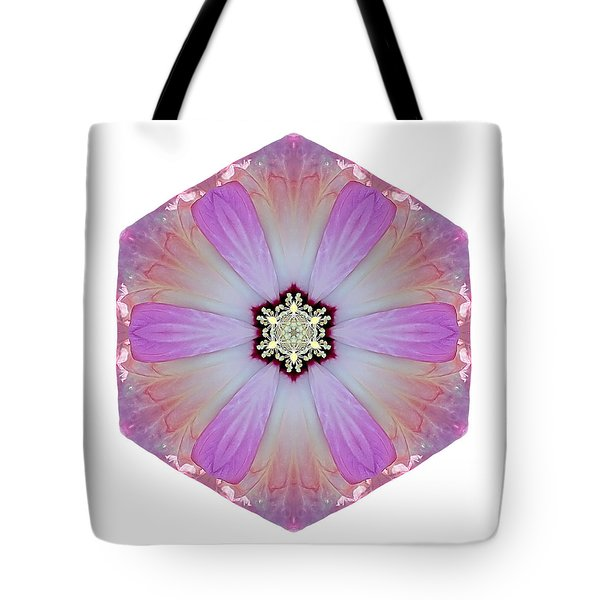 Pink And White Hibiscus Moscheutos I Flower Mandala White Tote Bag