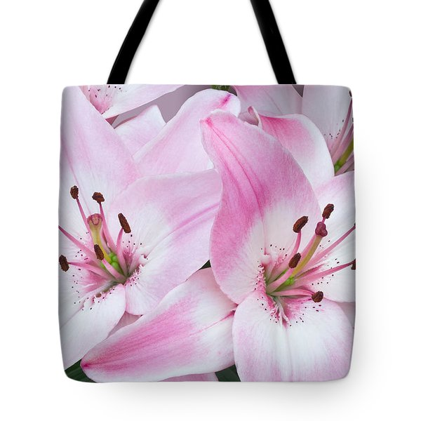 Pink And White Lilies Tote Bag by Jane McIlroy