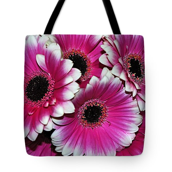 Pink And White Ornamental Gerberas Tote Bag by Kaye Menner