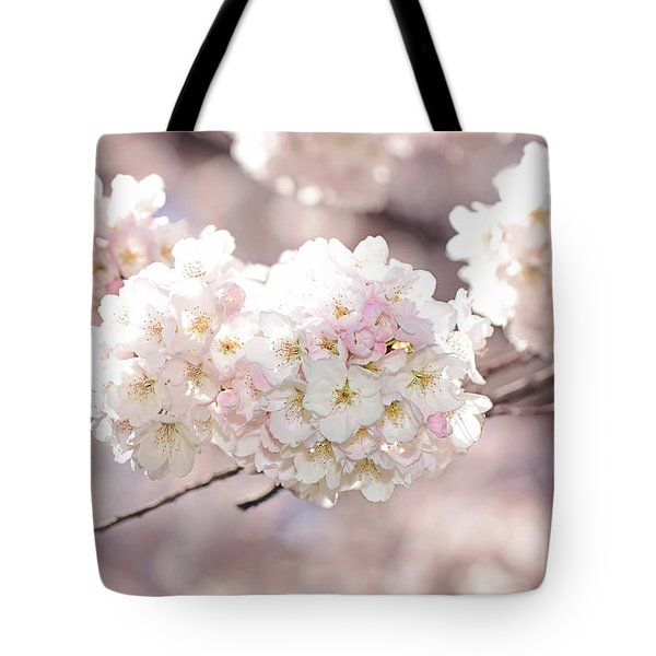 Pink And White Pompoms Of Light Tote Bag by Lisa Knechtel
