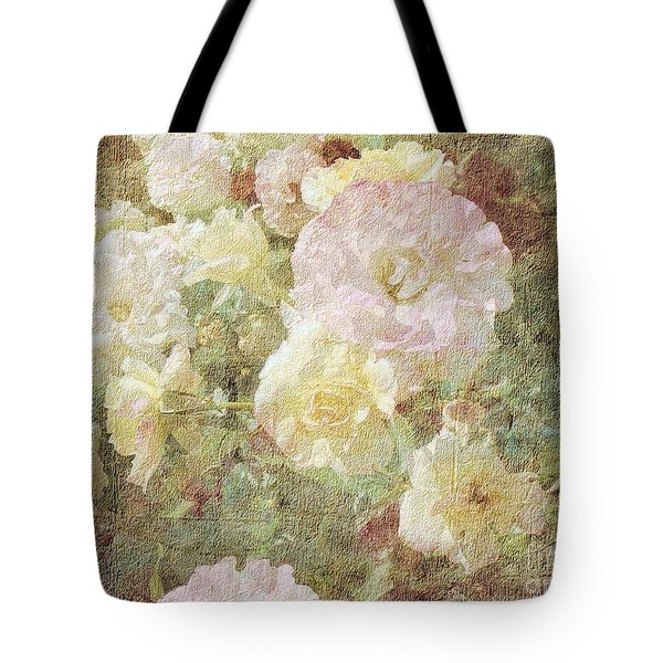 Pink And White Roses With Tapestry Look Tote Bag