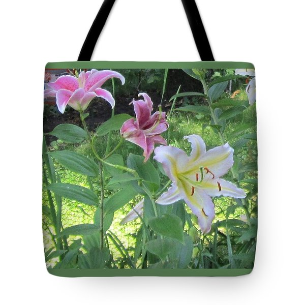 Pink And White Stargazer Lilies Tote Bag