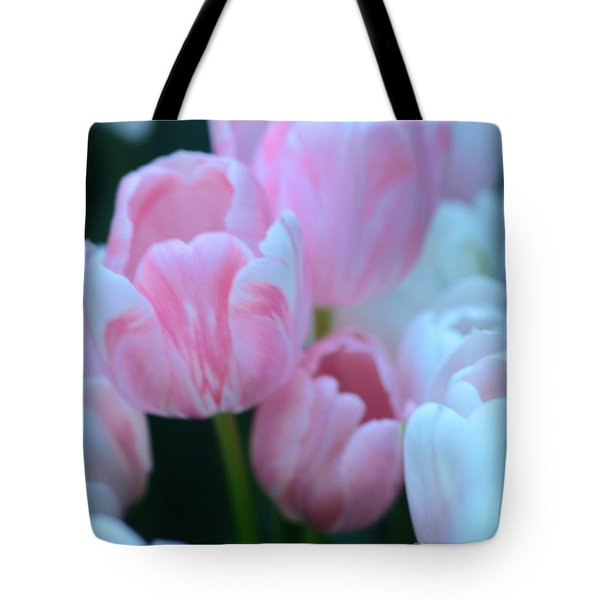Pink And White Tulips Tote Bag by Kathleen Struckle