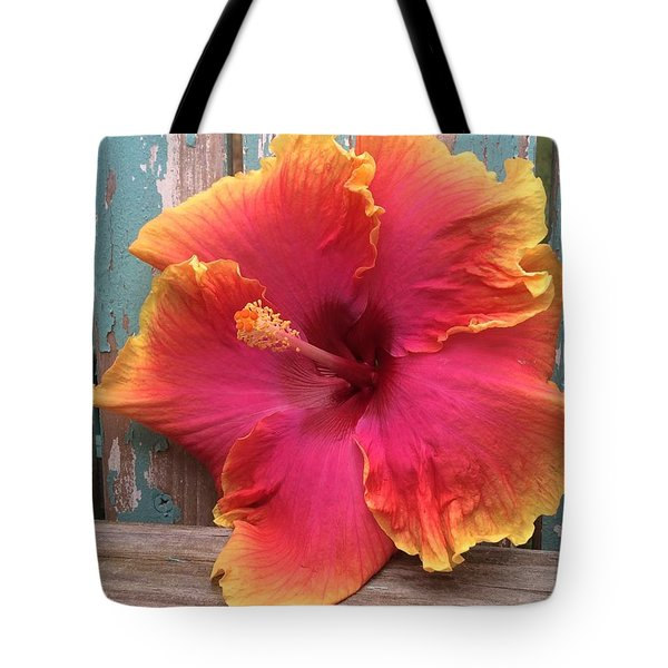 Tropical Pink And Yellow Hibiscus  Tote Bag