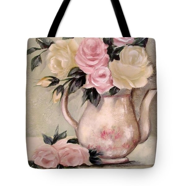 Pink And Yellow Roses In Teapot Painting Tote Bag