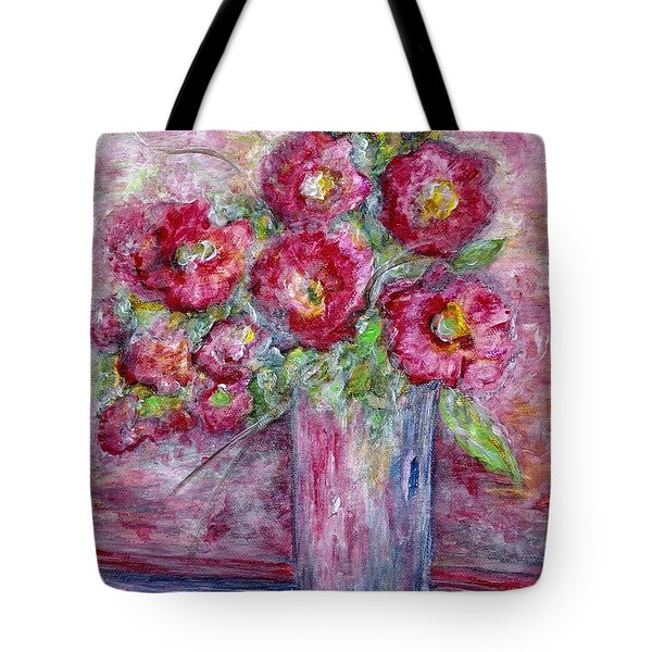 Pink Beauties In A Blue Crystal Vase Tote Bag by Eloise Schneider