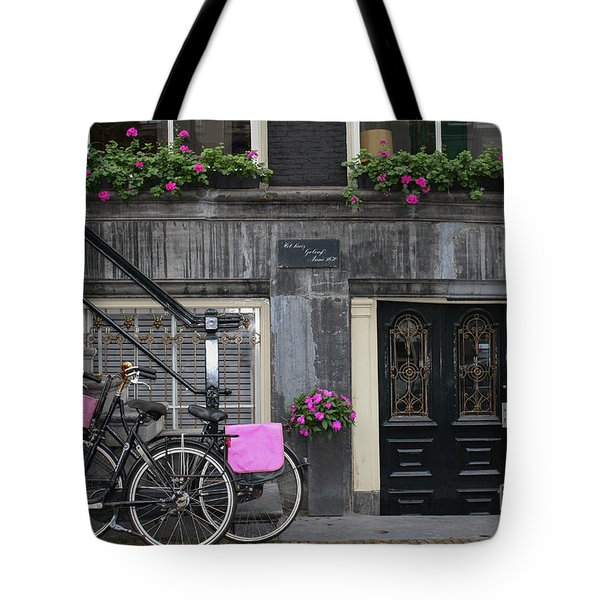 Pink Bikes Of Amsterdam Tote Bag by Mary-Lee Sanders
