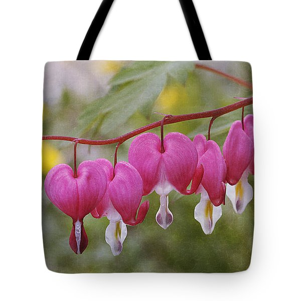 Pink Bleeding Hearts Tote Bag