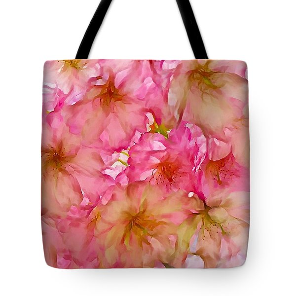 Tote Bag featuring the digital art Pink Blossom by Lilia D