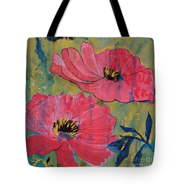 Tote Bag featuring the painting Pink Blossoms by Robin Maria Pedrero
