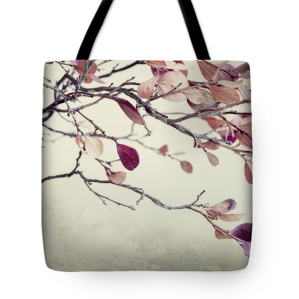 Pink Blueberry Leaves Tote Bag