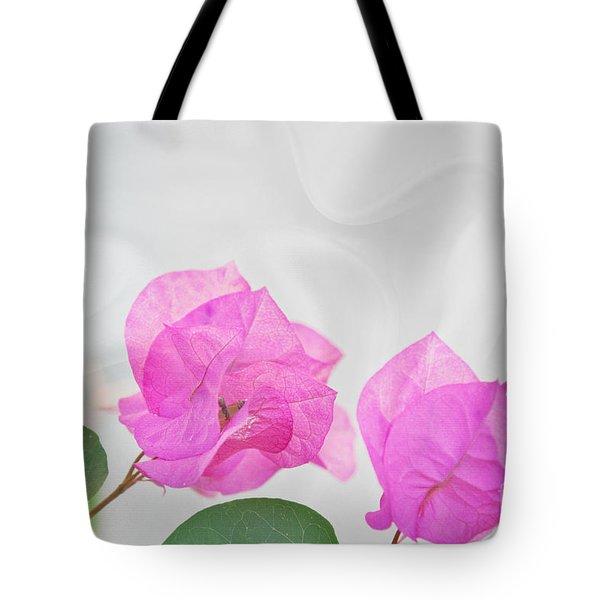 Pink Bougainvillea Flowers On White Silk Art Prints Tote Bag