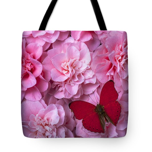 Pink Camilla's And Red Butterfly Tote Bag by Garry Gay