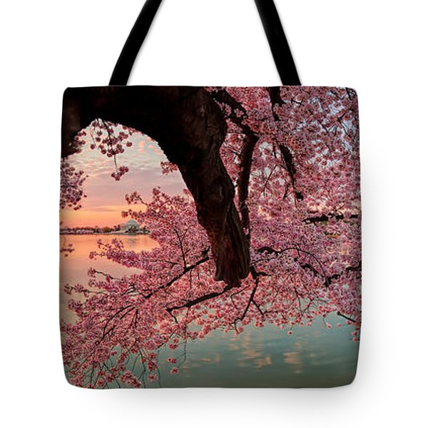 Pink Cherry Blossom Sunrise Tote Bag