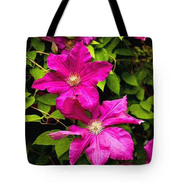 Pink Clematis Tote Bag by Lena Auxier