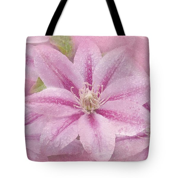 Pink Clematis Profusion Tote Bag by Betty LaRue