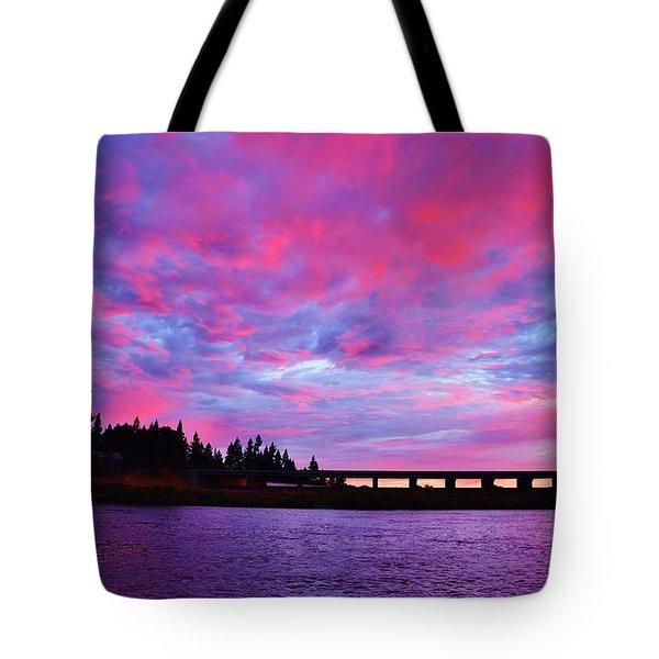 Pink Cloud Invasion Sunset Tote Bag