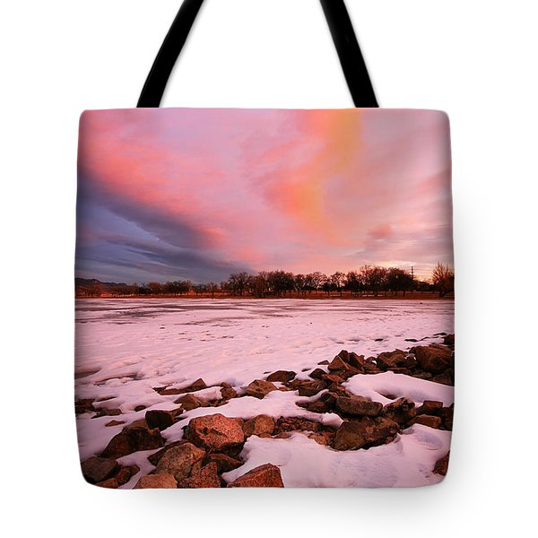 Pink Clouds Over Memorial Park Tote Bag by Ronda Kimbrow