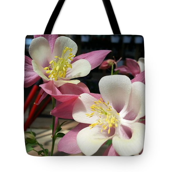 Tote Bag featuring the photograph Pink Columbine by Caryl J Bohn