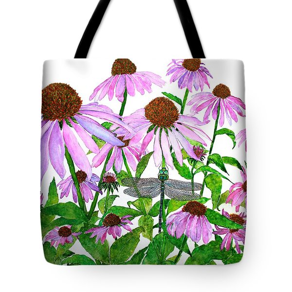Pink Cone Flowers And Dragonfly Tote Bag