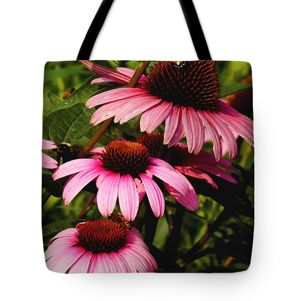 Tote Bag featuring the photograph Pink Coneflowers by James C Thomas