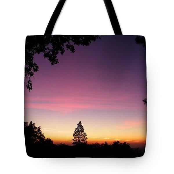 Pink Contrails Tote Bag by Tom Mansfield