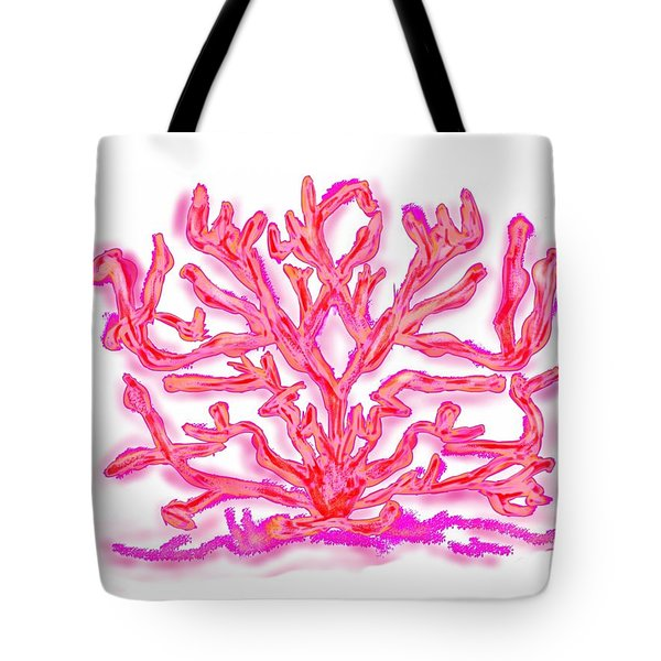 Tote Bag featuring the digital art Pink Coral by Christine Fournier