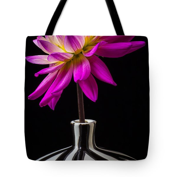Pink Dahlia In Striped Vase Tote Bag