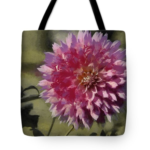 Tote Bag featuring the painting Pink Dahlia by Jeff Kolker