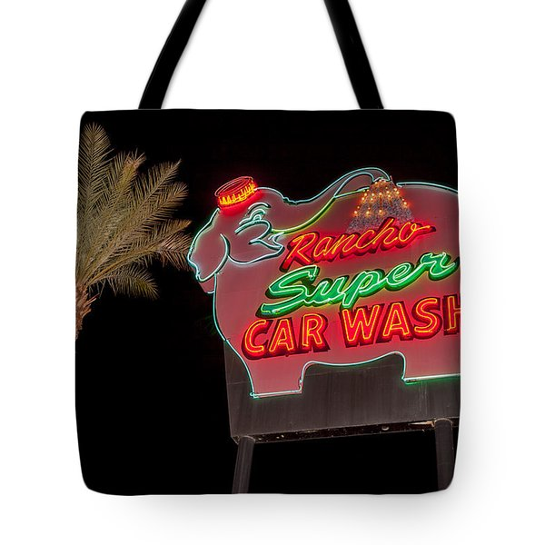 Pink Elephant Car Wash 36 X 24 Tote Bag