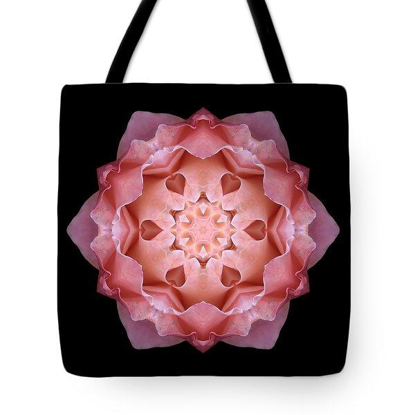 Pink Fall Rose Flower Mandala Tote Bag