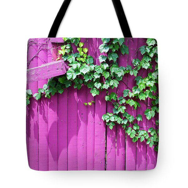 Pink Fence And Foliage Tote Bag