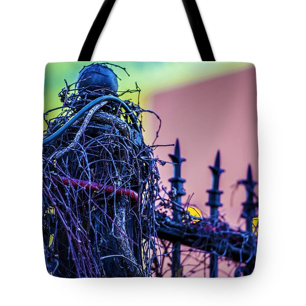 Pink Fence Tote Bag by Raymond Kunst