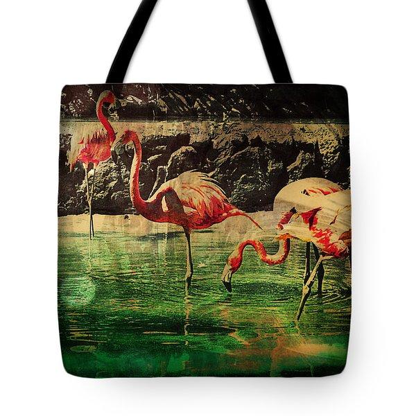Tote Bag featuring the digital art Pink Flamingos - Shangri-la by Absinthe Art By Michelle LeAnn Scott