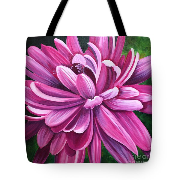 Pink Flower Fluff Tote Bag by Debbie Hart