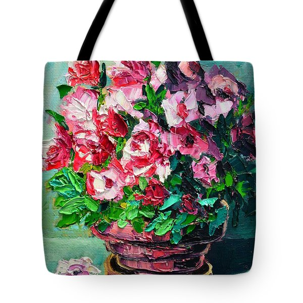 Tote Bag featuring the painting Pink Flowers by Ana Maria Edulescu
