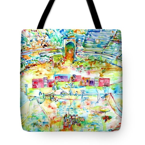 Pink Floyd Live At Pompeii Watercolor Painting Tote Bag by Fabrizio Cassetta