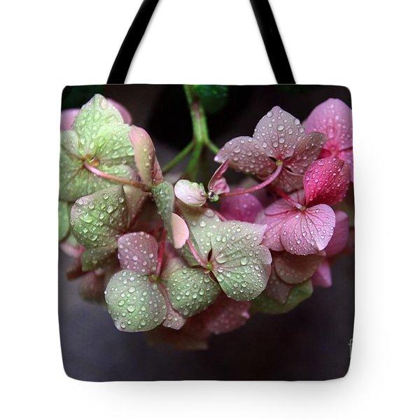 Pink Green And Rain Tote Bag