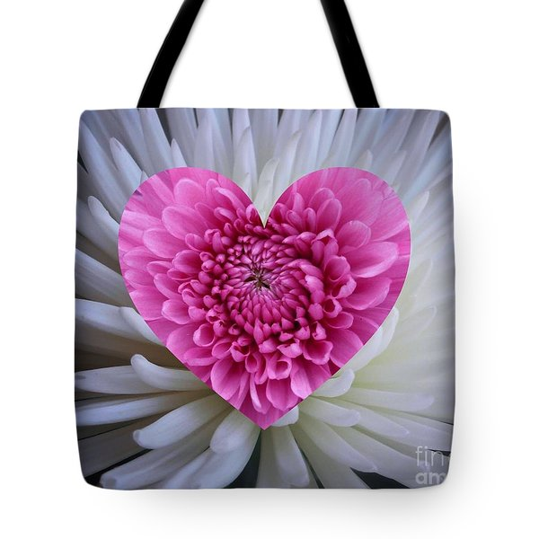 Pink Heart On White Tote Bag