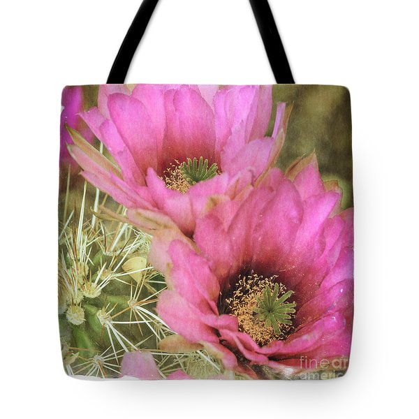 Pink Hedgehog Cactus Flower Tote Bag