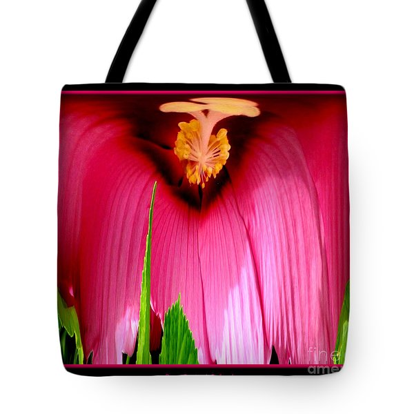 Pink Hibiscus Abstract Tote Bag by Rose Santuci-Sofranko