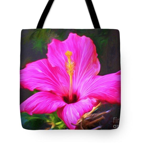 Pink Hibiscus Digital Painting In Oil Tote Bag