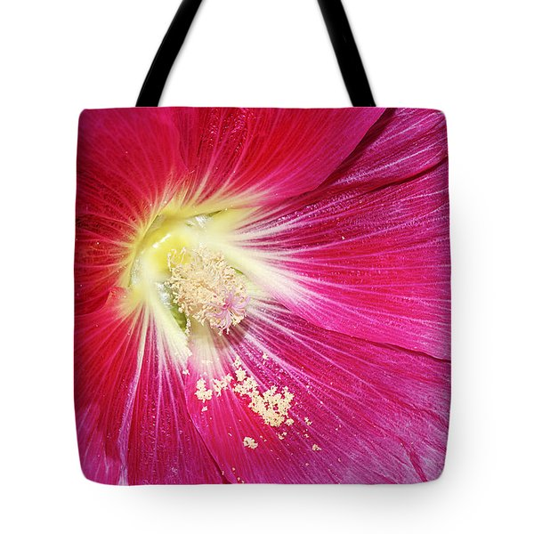 Pink Hollyhock Tote Bag by Phyllis Denton