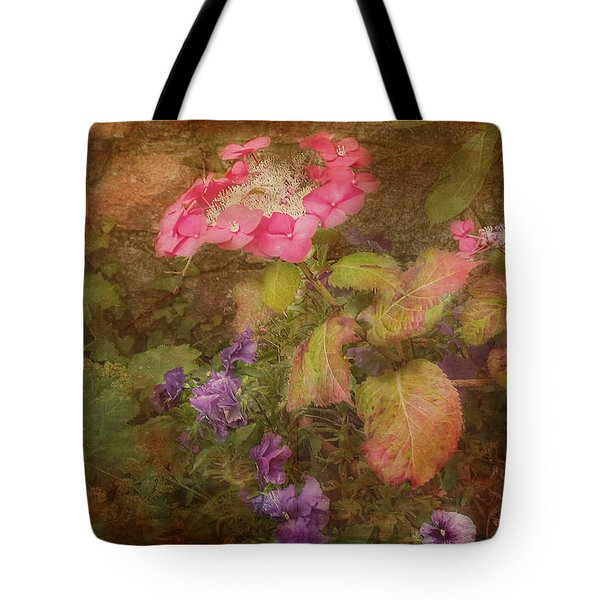 Pink Hydrangea And Purple Pansies Tote Bag