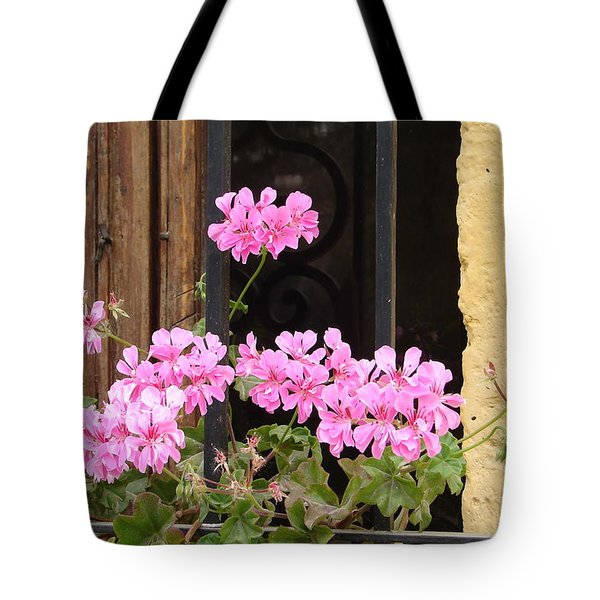 Tote Bag featuring the photograph Pink In My Window by Lew Davis