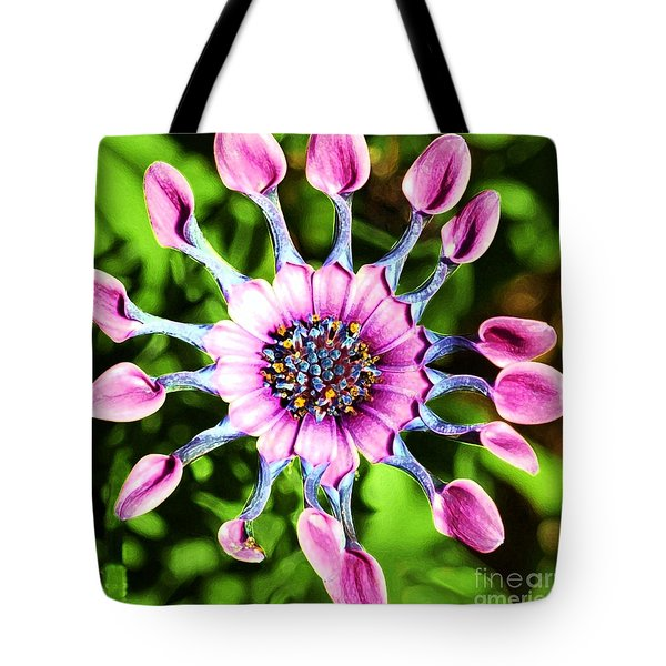 Pink Indian Painted Daisy Tote Bag by Kathleen Struckle