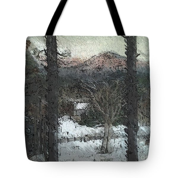 Snow - Pink Mountain - Blueridge Mountains Tote Bag by Jan Dappen