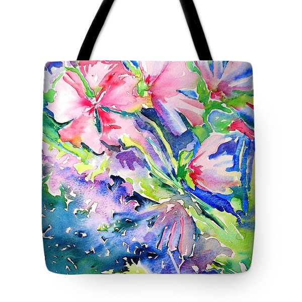 Pink Lavatera Profusion Tote Bag by Trudi Doyle